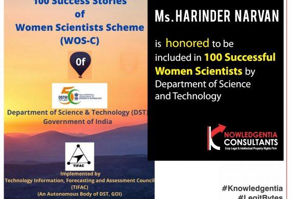 DST honours Knowledgentia Co Founder Ms. Harinder Narvan